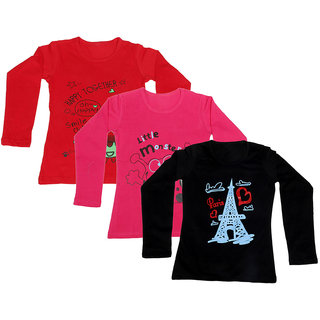 IndiWeaves Girls Cotton 3 Full Sleeves Printed T-Shirt (Pack of 2)_Red::Red::Black_Size: 8-9 Year
