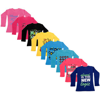 IndiWeaves Girls Cotton Full Sleeve Printed T-Shirt (Pack of 8)_Pink::Purple::Red::Blue::Blue::Yellow::Black::Red_Size: 6-7 Year