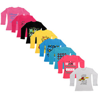 IndiWeaves Girls Cotton Full Sleeve Printed T-Shirt (Pack of 8)_Pink::white::Red::Blue::Blue::Yellow::Black::Red_Size: 6-7 Year