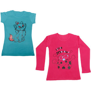 Indistar Girls Cotton 1 Full Sleeves Printed T-Shirt and 1 Half Sleeves T-Shirt (Pack of 2)_Red::Blue_Size: 8-9 Year