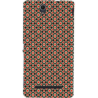 ifasho Animated Pattern design black and red flower in white background Back Case Cover for Sony Xperia C3 Dual