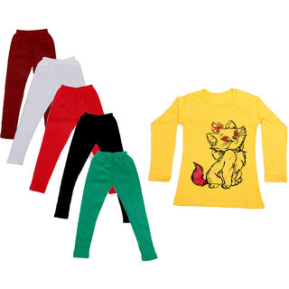 IndiWeaves Girls Cotton Full Sleeves Printed T-Shirt and Cotton Legging (Pack of 6)_Maroon::White::Black::Red::Green::Yellow_Size: 6-7 Year