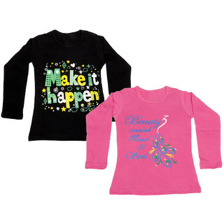 IndiWeaves Girls Cotton Full Sleeve Printed T-Shirt (Pack of 2)_Pink::Black_Size: 6-7 Year