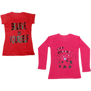 Indistar Girls Cotton 1 Full Sleeves Printed T-Shirt and 1 Half Sleeves T-Shirt (Pack of 2)_Red::Red_Size: 8-9 Year