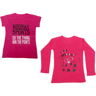 Indistar Girls Cotton 1 Full Sleeves Printed T-Shirt and 1 Half Sleeves T-Shirt (Pack of 2)_Red::Pink_Size: 8-9 Year