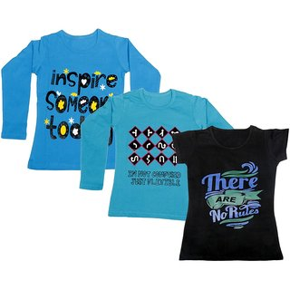 IndiWeaves Girls 2 Cotton Full Sleeves and 1 Half Sleeves Printed T-Shirt (Pack of 3)_Blue::Blue::Black_Size: 6-7 Year
