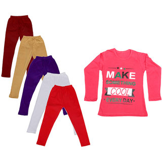 IndiWeaves Girls Cotton Full Sleeves Printed T-Shirt and Cotton Legging (Pack of 6)_Maroon::Beige::White::Purple::Red::Red_Size: 6-7 Year