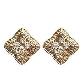 Fabula's Gold & White Zircon American Diamond AD CZ Traditional Ethnic Jewellery Ear Stud Earrings for Women, Girls & Ladies
