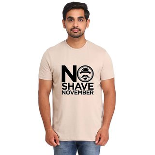 Snoby NO SHAVE NOVEMBER Light Brown Printed T-shirt