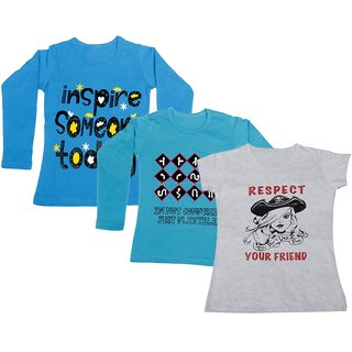 IndiWeaves Girls 2 Cotton Full Sleeves and 1 Half Sleeves Printed T-Shirt (Pack of 3)_Blue::Blue::White_Size: 6-7 Year