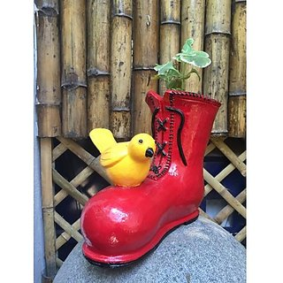 Bird onBoot planter painted