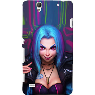 ifasho Blue hair Girl smiling Back Case Cover for Sony Xperia C4
