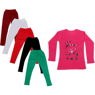IndiWeaves Girls Cotton Full Sleeves Printed T-Shirt and Cotton Legging (Pack of 6)_Maroon::White::Black::Red::Green::Red_Size: 6-7 Year