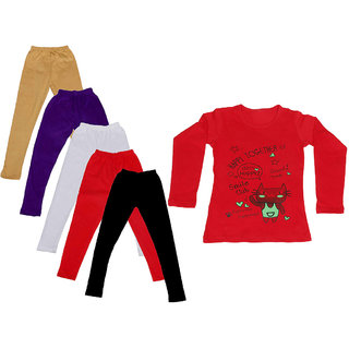 IndiWeaves Girls Cotton Full Sleeves Printed T-Shirt and Cotton Legging (Pack of 6)_Beige::Purple::Red::White::Black::Red_Size: 6-7 Year