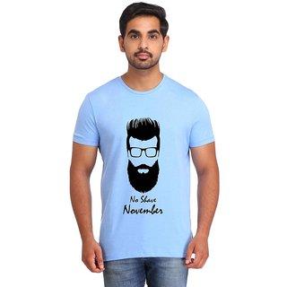 Snoby NO SHAVE NOVEMBER Blue Printed T-shirt