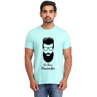 Snoby NO SHAVE NOVEMBER Cyan Printed T-shirt