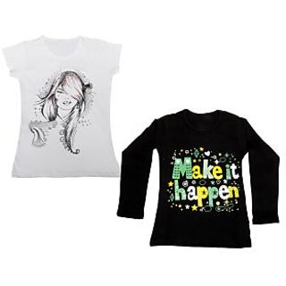Indistar Girls Cotton 1 Full Sleeves Printed T-Shirt and 1 Half Sleeves T-Shirt (Pack of 2)_Black::White_Size: 8-9 Year