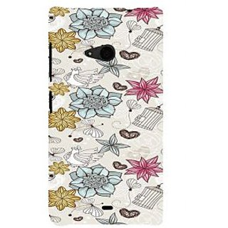 ifasho Animated Pattern colrful design flower and cage and hen Back Case Cover for Nokia Lumia 535