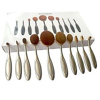 eBoTrade Dirct New 10 Pcs Gold Powder Foundation Face Makeup Oval Loose Brush 10Pcs Elite Tooth Design Set for Applying