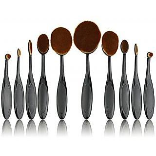 Jmkcoz 10pcs Soft Oval Toothbrush Makeup Brush Sets Foundation Brushes Cream Contour Powder Blush Concealer Brush Makeup