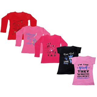 IndiWeaves Girls 3 Cotton Full Sleeves and 2 Half Sleeves Printed T-Shirt (Pack of 5)_Red::Red::Pink::Black::Pink_Size: 6-7 Year