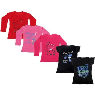 IndiWeaves Girls 3 Cotton Full Sleeves and 2 Half Sleeves Printed T-Shirt (Pack of 5)_Red::Red::Pink::Black::Black_Size: 6-7 Year