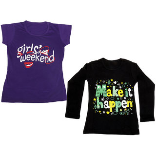 Indistar Girls Cotton 1 Full Sleeves Printed T-Shirt and 1 Half Sleeves T-Shirt (Pack of 2)_Black::Purple_Size: 8-9 Year