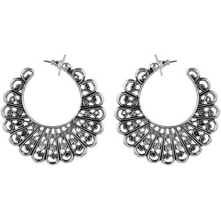 OOMPH's Antique Silver Floral Fashion Jewellery Hoop Bali Drop Earrings for Women, Girls & Ladies