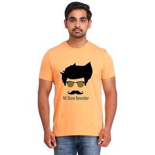 Snoby NO SHAVE NOVEMBER Orange Printed T-shirt