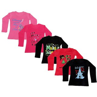 IndiWeaves Girls 5 Cotton Full Sleeves Printed T-Shirt (Pack of 5)