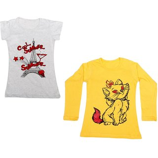 Indistar Girls Cotton 1 Full Sleeves Printed T-Shirt and 1 Half Sleeves T-Shirt (Pack of 2)_Yellow::Grey_Size: 8-9 Year