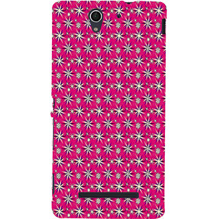 ifasho Pattern green white and red animated flower design Back Case Cover for Sony Xperia C3 Dual