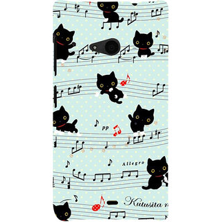ifasho Animated Pattern design black and white music symbols and cats Back Case Cover for Nokia Lumia 535