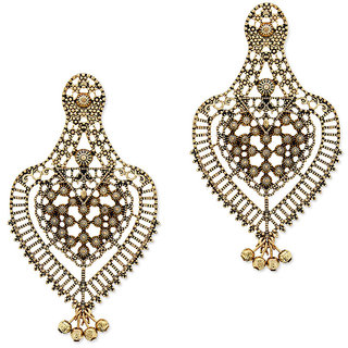 OOMPH's Antique Gold Filigree Fashion Jewellery Drop Earrings for Women, Girls & Ladies