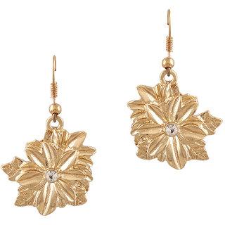 Fabula's Gold Floral Drop Earring for Women, Girls & Ladies