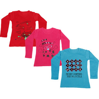 IndiWeaves Girls Cotton Full Sleeve Printed T-Shirt (Pack of 3)_Red::Blue::Red_Size: 6-7 Year