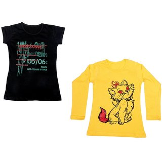 Indistar Girls Cotton 1 Full Sleeves Printed T-Shirt and 1 Half Sleeves T-Shirt (Pack of 2)_Yellow::Black_Size: 8-9 Year