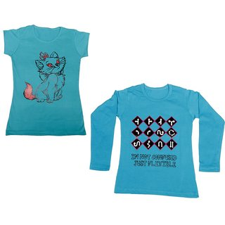 Indistar Girls Cotton 1 Full Sleeves Printed T-Shirt and 1 Half Sleeves T-Shirt (Pack of 2)_Blue::Blue_Size: 8-9 Year