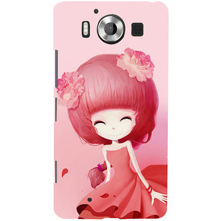 ifasho Cute Girl Back Case Cover for Nokia Lumia 950
