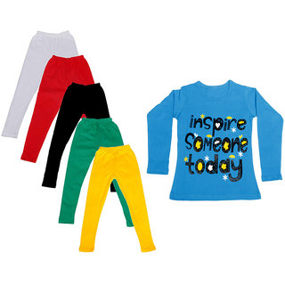IndiWeaves Girls Cotton Full Sleeves Printed T-Shirt and Cotton Legging (Pack of 6)_White::Red::Green::Black::Yellow::Blue_Size: 6-7 Year