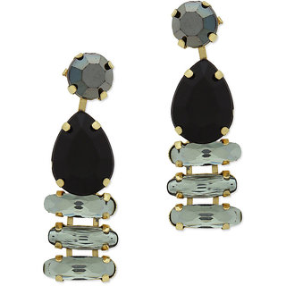 OOMPH's Gold & Black Crystal Fashion Jewellery Drop Earrings for Women, Girls & Ladies