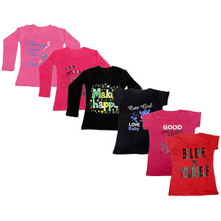 Indistar Girls Cotton Full Sleeves Printed T-Shirt (Pack of 4)_Pink::Black::Red::Black::Pink::Red_Size: 6-7 Year