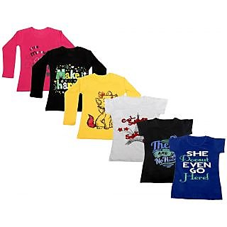 Indistar Girls Cotton Full Sleeves Printed T-Shirt (Pack of 4)_Red::Yellow::Black::Grey::Black::Blue_Size: 6-7 Year