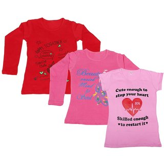 Indistar Girls 2 Cotton Full Sleeves and 1 Half Sleeves Printed T-Shirt (Pack of 3)_Red::Pink::Pink_Size: 6-7 Year