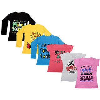 Indistar Girls Cotton Full Sleeves Printed T-Shirt (Pack of 4)_Black::Blue::Yellow::Pink::White::Pink_Size: 6-7 Year