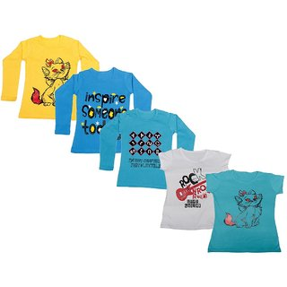 IndiWeaves Girls 3 Cotton Full Sleeves and 2 Half Sleeves Printed T-Shirt (Pack of 5)_Yellow::Blue::Blue::White::Blue_Size: 6-7 Year
