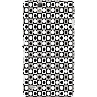 ifasho Modern Theme of black and white dots inside Square Back Case Cover for Sony Xperia C4