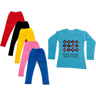 IndiWeaves Girls Cotton Full Sleeves Printed T-Shirt and Cotton Legging (Pack of 6)_Red::Black::Pink::Yellow::Blue::Blue_Size: 6-7 Year