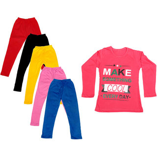 IndiWeaves Girls Cotton Full Sleeves Printed T-Shirt and Cotton Legging (Pack of 6)_Red::Black::Pink::Yellow::Blue::Red_Size: 6-7 Year