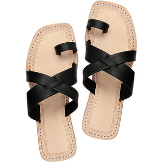 Black designers cross belts ladies chappal